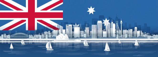 Fototapete - Panorama view of Sydney, Australia skyline with world famous landmarks in paper cut style vector illustration