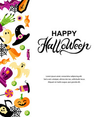 Halloween card with celebratory subjects. Hand drawn lettering Hello Halloween. Place for text. Flat style vector illustration. Great for party invitation, flyer, greeting card.