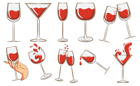 wine glass vector set graphic clipart design