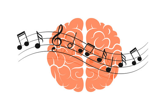 Human brain with music notes. Effect of music on human brain concept. Isolated. On white background. Flat.