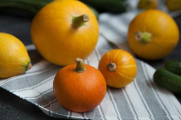 pumpkins. autumn harvest. orange and yellow pumpkins.