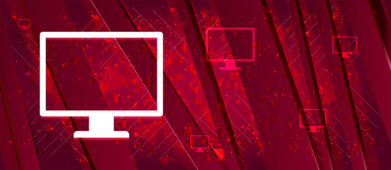 Monitor icon Abstract design bright red banner background