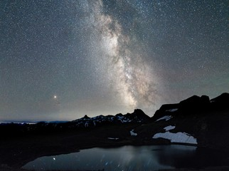 Beautiful shot of snowy mountain near a pond under a sky filled with stars Wall mural