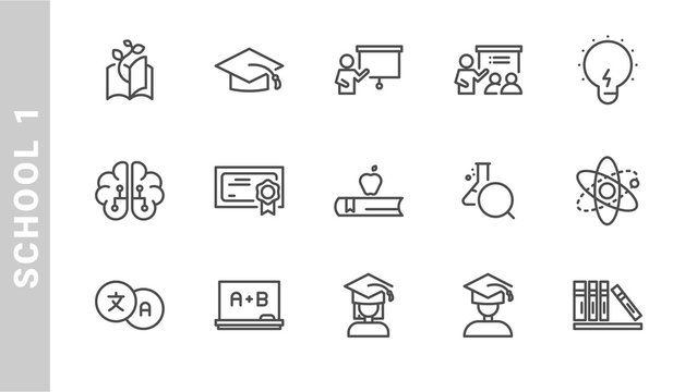 school 1 icon set. Outline Style. each made in 64x64 pixel