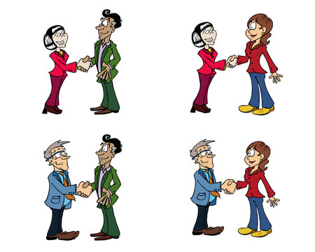 Handshake collection - four characters color 01