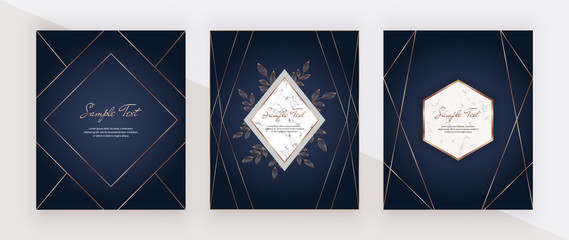 Luxury blue design cards with golden polygonal lines, marble frames. Trendy templates for banner, flyer, poster, greeting.