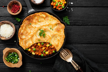 Shepherd's pie, traditional British dish with minced meat, vegetables and mashed potatoes.