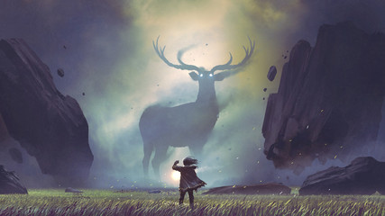 Fotorolgordijn Grandfailure the man with a magic lantern facing the giant deer in a mysterious valley, digital art style, illustration painting