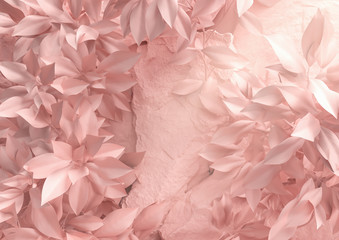 Scene for showcase or cosmetic product presentation, in pink pastel colors, 3d rendering.