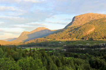 Spectacular landscape with mountains and valleys in beautiful Hemsedal, Buskerud, Norway.