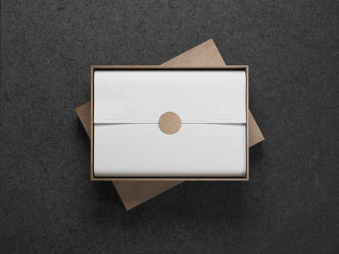 Cardboard Box with White wrapping paper and opened cover, Horizontal