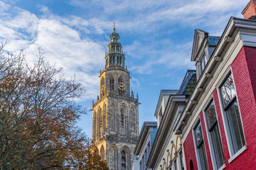 Fototapete - Sunset over the Martini church tower in Groningen, Netherlands
