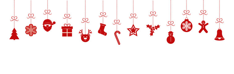 Hanging Christmas icons on transparent background.