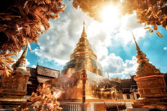 Wat Phra Singh Temple in Chinag mai Thailand