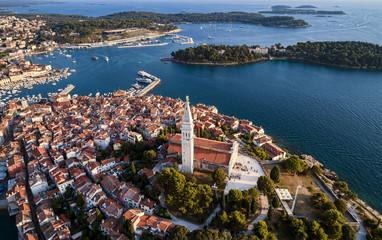 Beautiful old town of Rovinj, Croatia. Aerial view, travel destination
