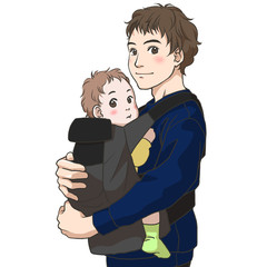 A young father having a baby in his arms