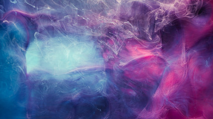 Steam leak. Mysterious haze. Blue magenta fluid gas effect. Creative abstract background.