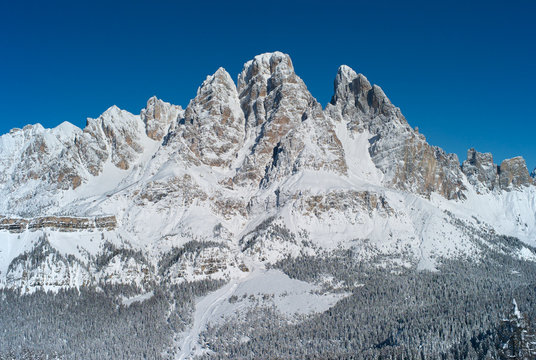 Monte Cristallo Mountain, Snow Covered in Winter, seen From Faloria, Cortina d Ampezzo Ski and Winter Sports Resort, Italy - Peaks in the Dolomites in Italy