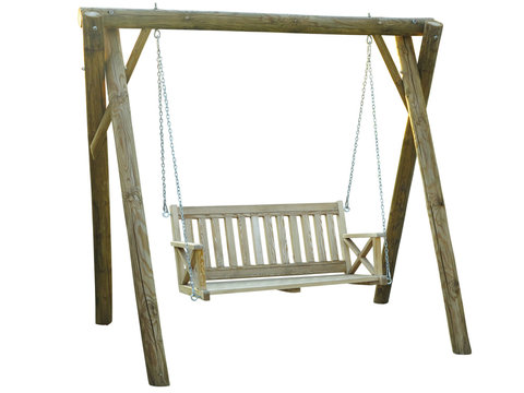 Classic wooden outdoor hanging swing bench furniture isolated on white background