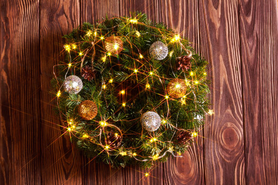 Christmas wreath with lights and decoration