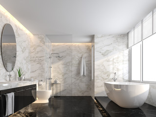 Luxury bathroom with black marble floor and white marble wall 3d render,The room has a clear glass shower partition,There are large windows natural light shining into the room.