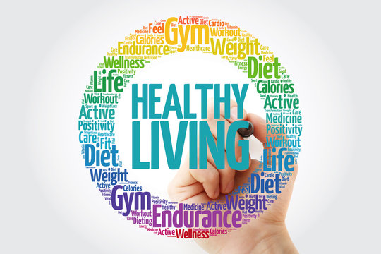 Healthy Living circle stamp word cloud with marker, health concept
