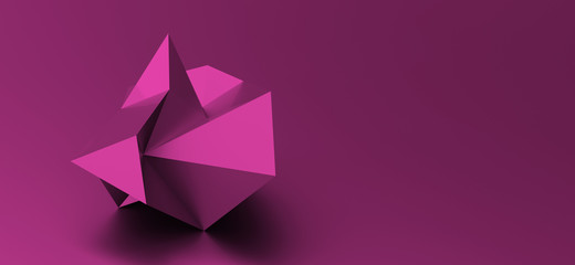 abstract background with origami shape. 3d illustration