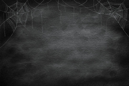 drawing group of spider web at the corner  on retro vintage chalkboard  background for halloween night party design concept concept