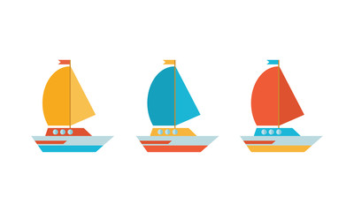 Set of icons in a flat vector. Yellow, blue and red yacht, boat, sailboat. Travel by sea transport. Isolated objects