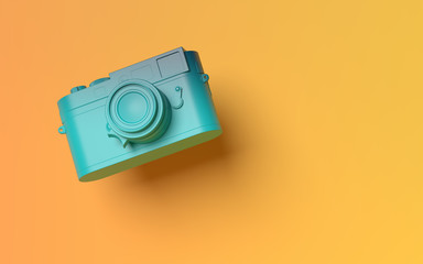 3D render camera mockup pop-up on abstract yellow background