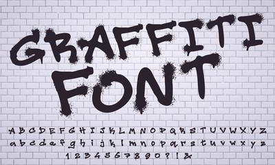 Foto op Plexiglas Graffiti Spray graffiti font. City street art wall tagging lettering, dirty graffitis numbers and letters. Grunge alphabet, street art graffiti sprayed abc lettering. Isolated vector symbols set