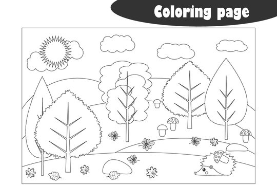 Forest in cartoon style, autumn black white coloring page, education paper game for the development of children, kids preschool activity, printable worksheet, vector illustration