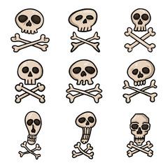 Vector Set of Cartoon Pirate Symbols. Skull and Crossbones Signs