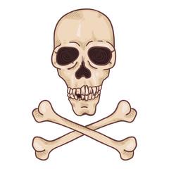 Vector Cartoon Skull and Crossbones Illustration
