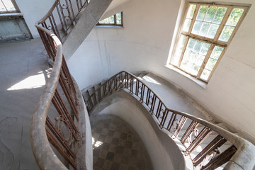Stairway at interior of former historical barracks, officers building