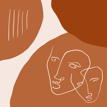 Terracotta Line Art Print Abstract Face Modern Digital Painting Fashion Scandinavian Style Color Abstraction Poster Contemporary Print Burnt Orange Vector Illustration