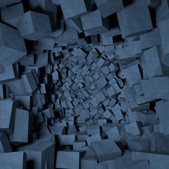 Contemporary abstract background of destroyed concrete cubes