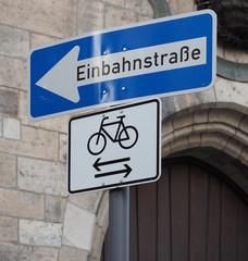 Einbahnstrasse (One way) traffic sign in German