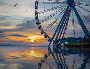 Wall Mural - The ferris wheel on the waterfront of Seattle, Washington in late afternoon light