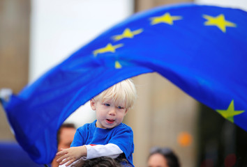 "A child holds an EU flag during a rally under the slogan ""Stop the Coup"" to protest against attempts to force through a no-deal Brexit, in Berlin"