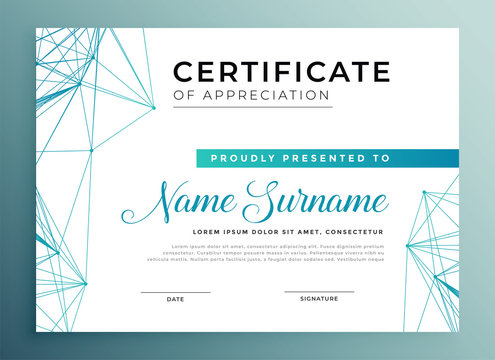 low poly style modern certificate template design