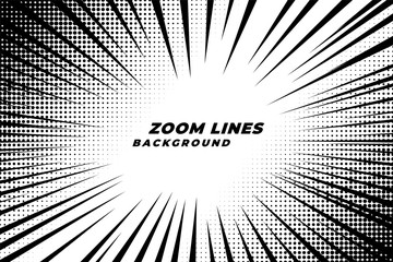 comic zoom lines motion background with halftone effect