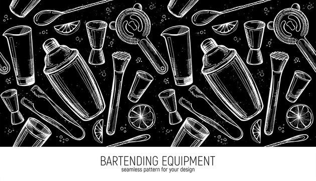 Bartending Equipment seamless pattern. Bar accessories background
