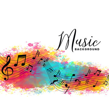 abstract watercolor music background with notes symbols