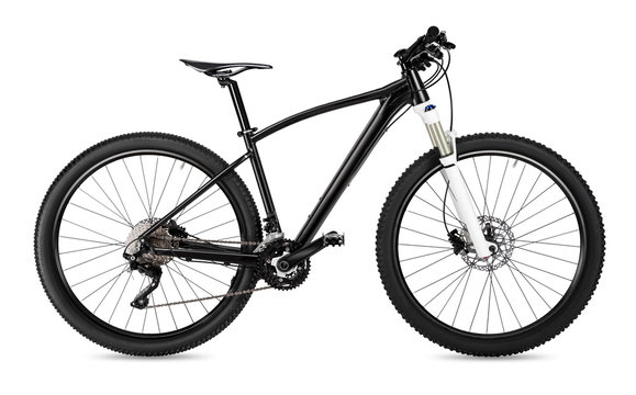 black 650b mountainbike with thick offroad tyres. bicycle mtb cross country aluminum, cycling sport transport concept isolated  white background