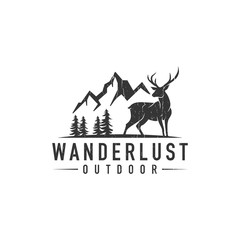 Hipster deer landscape logo - vector illustration on a light background