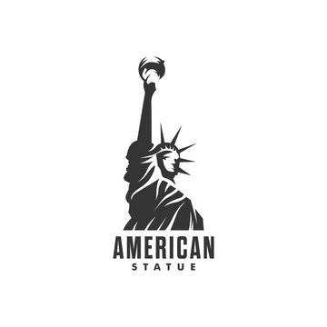 Statue of Liberty logo - vector illustration on a light background