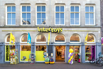 SNEEK, THE NETHERLANDS - NOVEMBER 2, 2018: Intertoys store. Intertoys is a Dutch toys and multimedia retailer.