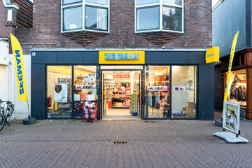 SNEEK, THE NETHERLANDS - NOVEMBER 2, 2018: Zeeman branch. Zeeman is a Dutch budget clothing retailer with around 1,200 stores in the Netherlands, Germany, Belgium, France and Luxembourg.