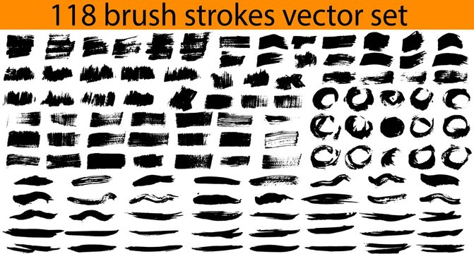 Large set different grunge brush strokes. Dirty artistic design elements isolated on white background. Black ink vector brush strokes